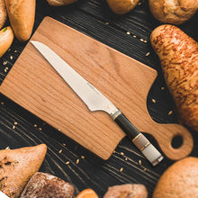 "Load image into Gallery viewer, KYNA 9-1/2"" Luxury Bread Knife - Exotic Hardwoods Handle"