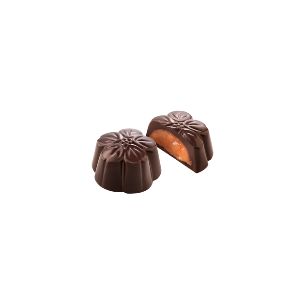 Amatller dark chocolates with orange/ Flores de chocolate negro y naranja
