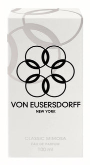 Von Eusersdorff white perfume packaging of 100 ml fresh mimosa scent