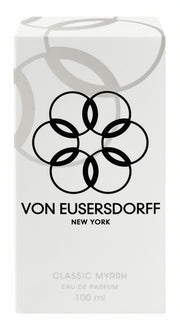 Von Eusersdorff white perfume packaging of 100 ml mysterious myrrh scent