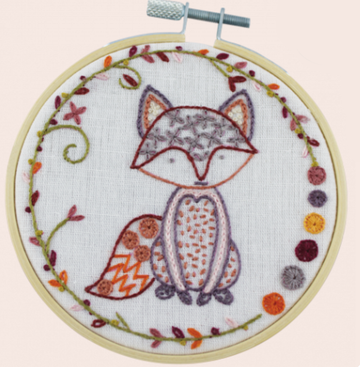Fox Embroidery Kit with Hoop