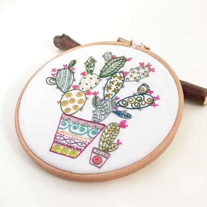 Cactus Embroidery Kit with Hoop