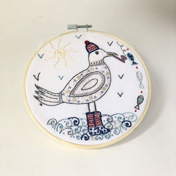 Captain Seagull Embroidery Kit with Hoop