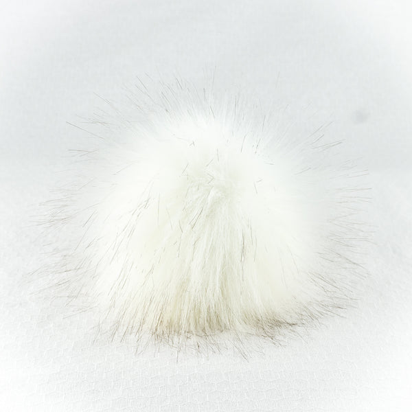 Faux Fur Pom Pom with Snap - Large, Creme Puff