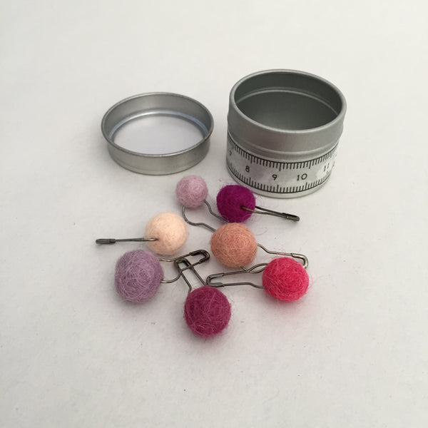 Tin of  Pink + Violet Stitch Markers