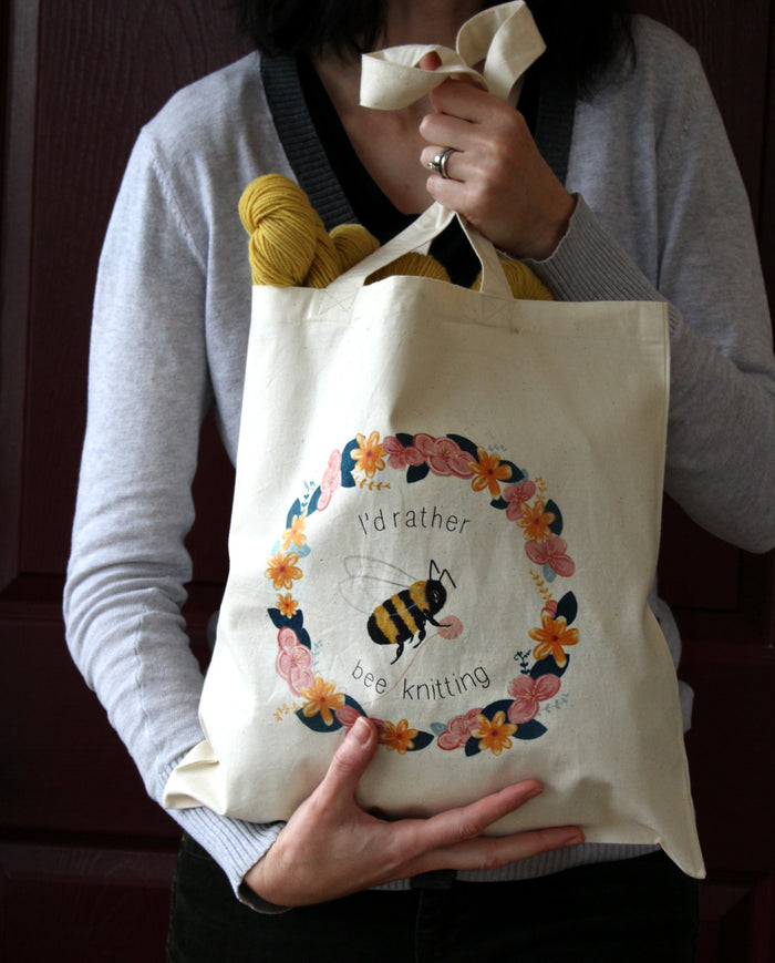"""I'd Rather Bee Knitting"" Tote Bag"