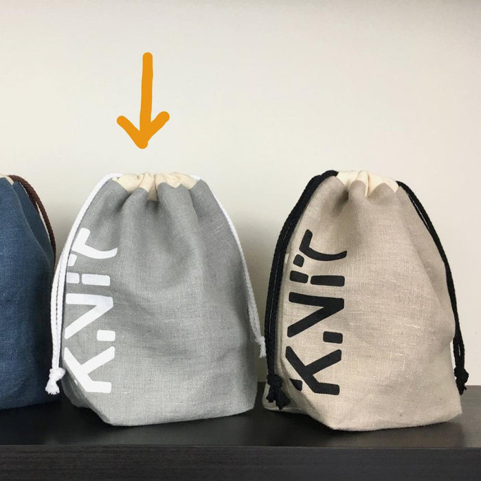 KNIT Drawstring Project Bag - Grey