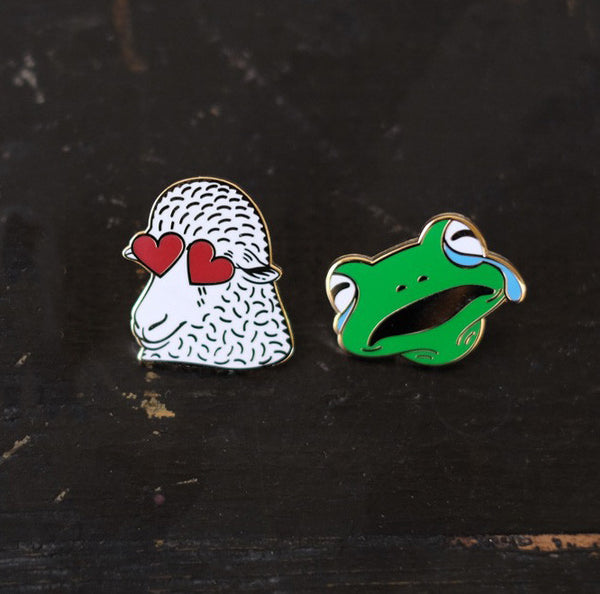 Crying Frog Knitmoji Enamel Pin