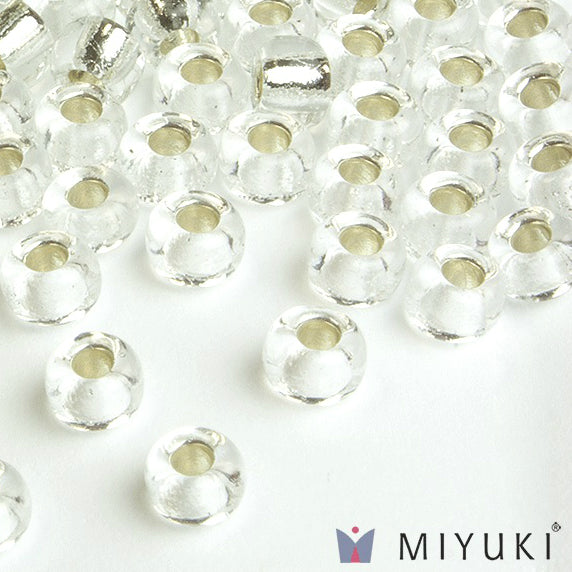 Miyuki 6/0 Round Seed Beads, 1 - Silver-lined Crystal
