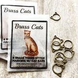Brass Cats Stitch Markers