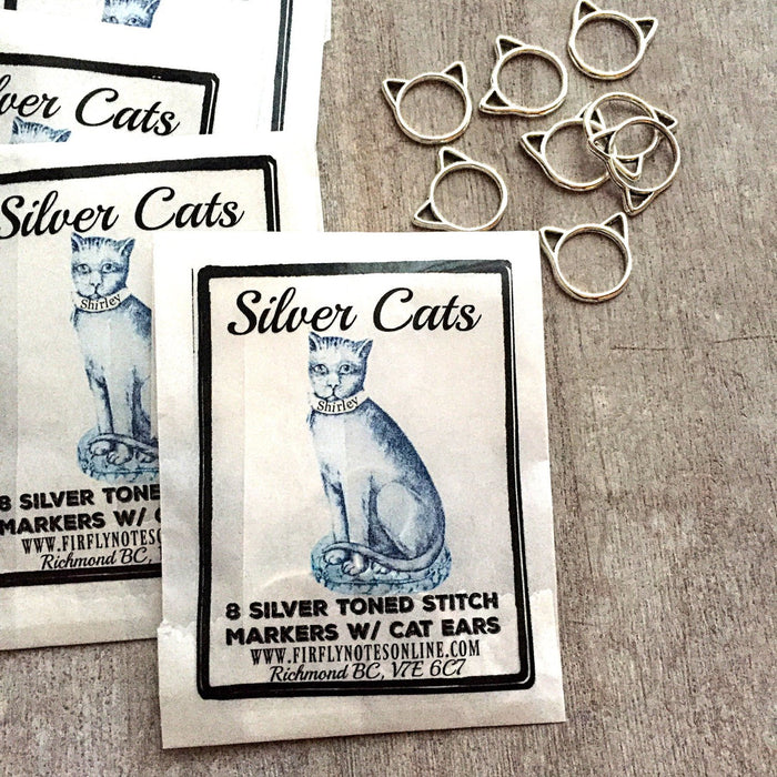 Silver Cats Stitch Markers