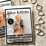 Silver Kittens Stitch Markers