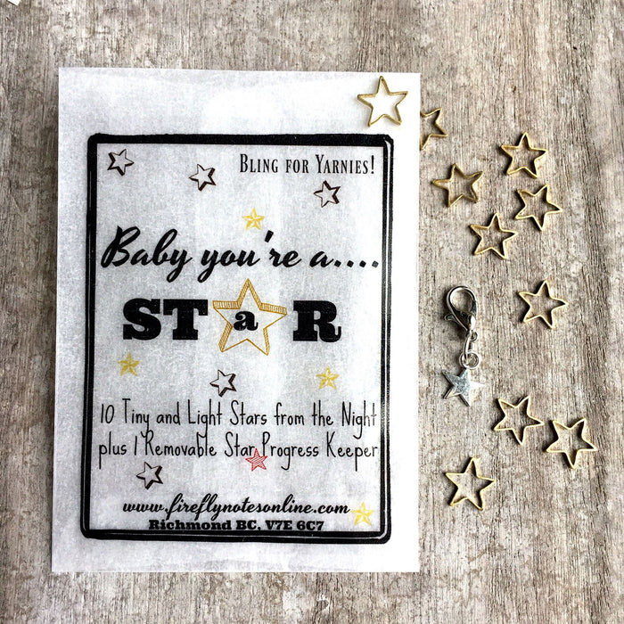 Tiny Stars Stitch Markers + Progress Keeper