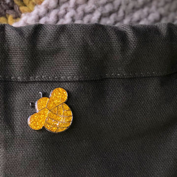Knitting Bee Sparkly Enamel Pin
