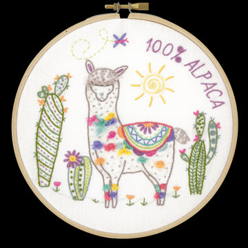 Alpaca Embroidery Kit with Hoop