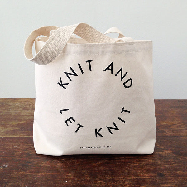 Knit and Let Knit Tote Bag, Fringe Supply Co.