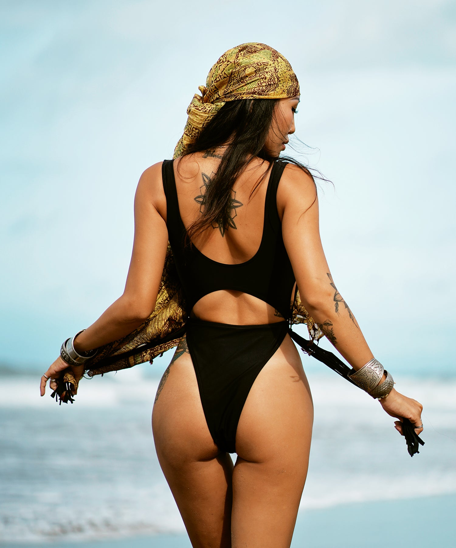 Black Tasseled Monokini