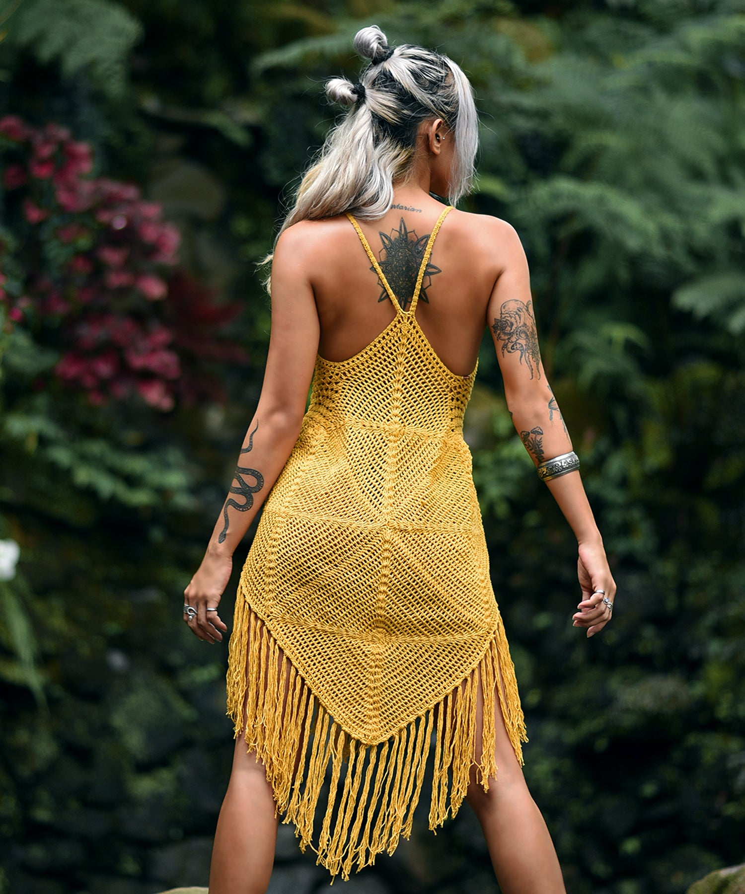 Diamond Crochet Beach Dress (Yellow)