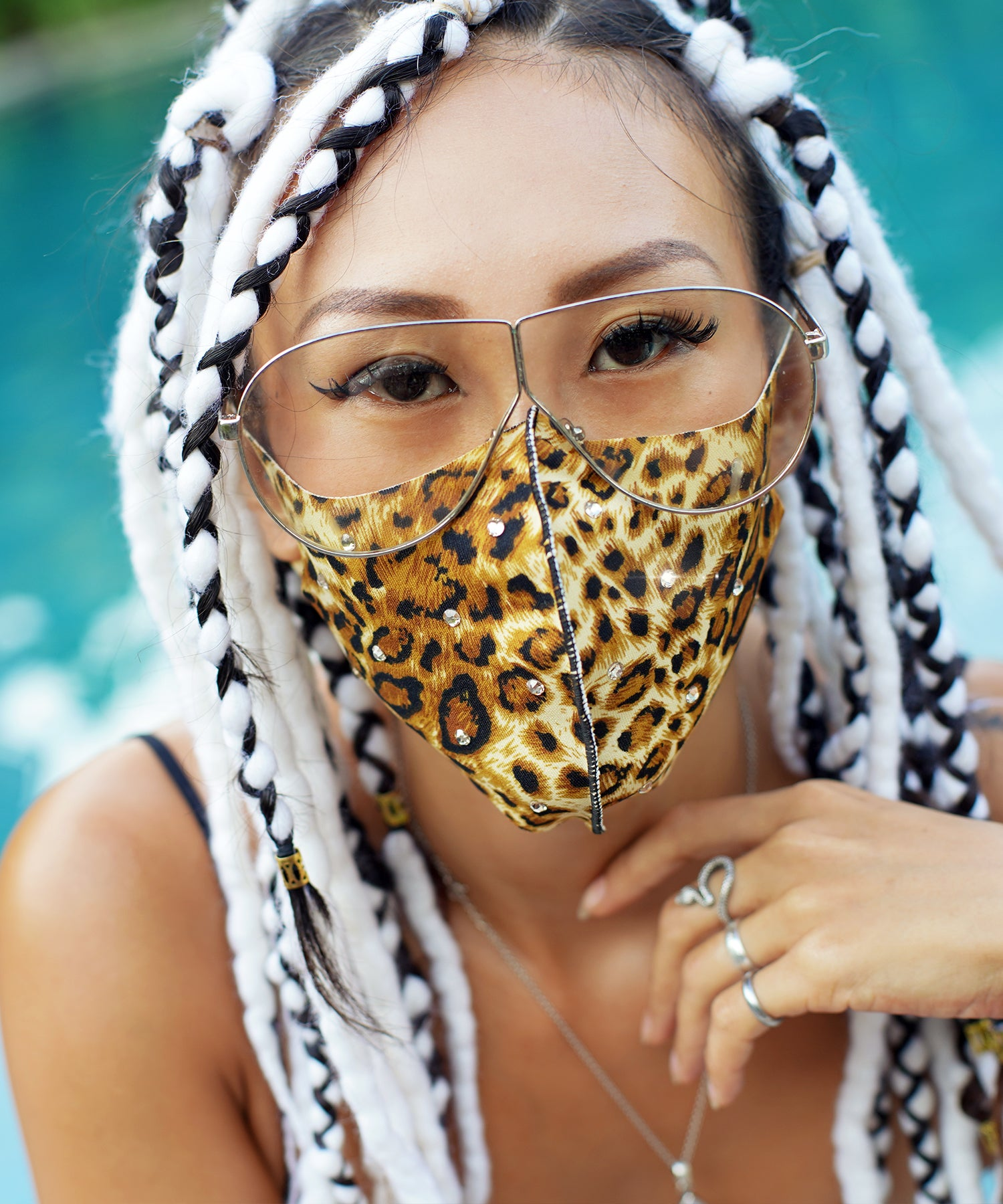 Swarovski Leopard Mask (Orange)