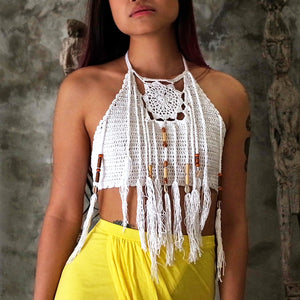 Pocahontas Halter Crochet Top (White)
