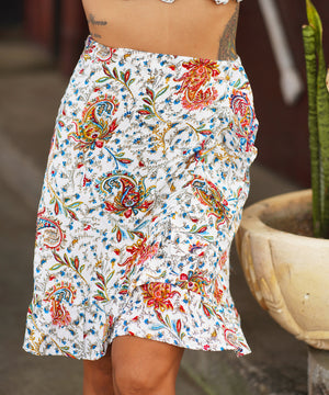 Paisley White Knee Length Skirt