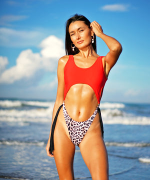 Red Leopard Tasseled Monokini