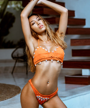 Neon Orange Crochet Bikini
