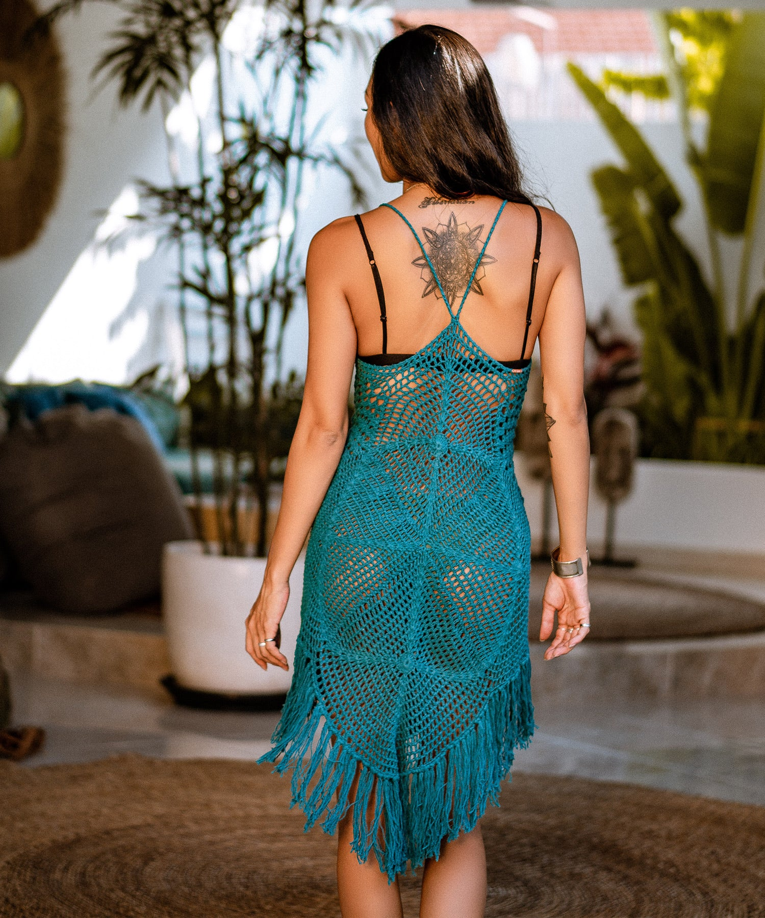 Diamond Crochet Beach Dress (Teal)