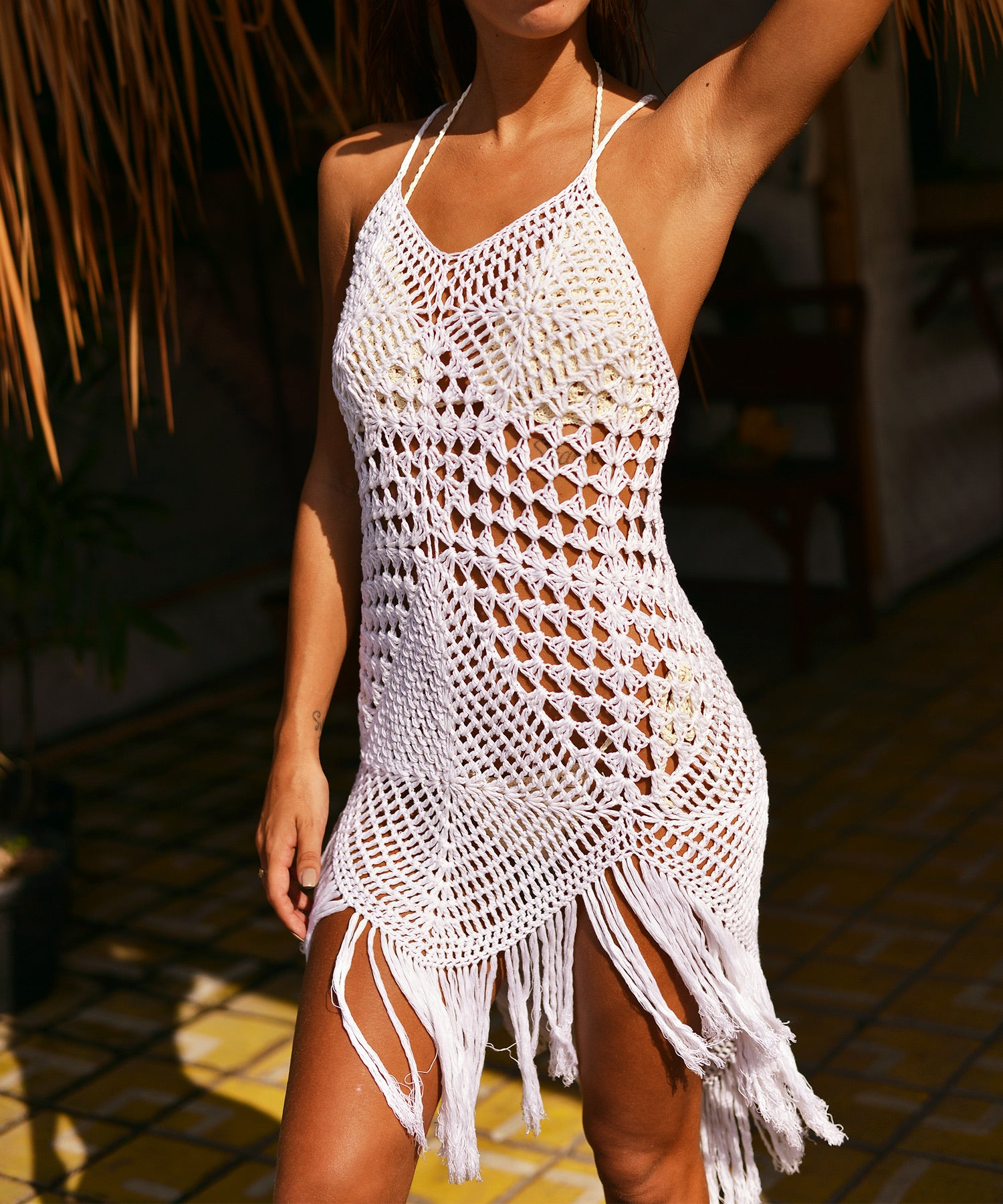 Diamond Crochet Beach Dress (White)