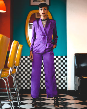Grape Disco Cisco Satin Pantsuit