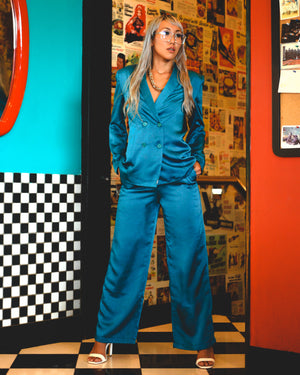 Blue Fig Disco Cisco Satin Pantsuit