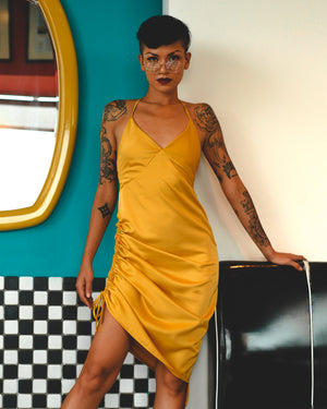 Lemon Jitterbug Satin Dress