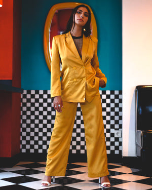 Lemon Disco Cisco Satin Pantsuit