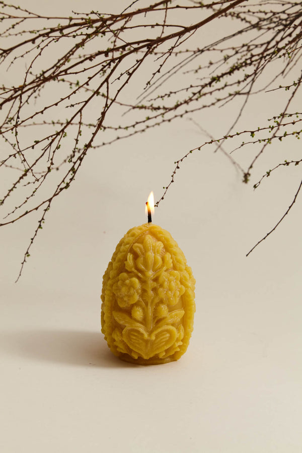 Carved Egg Beeswax Candle