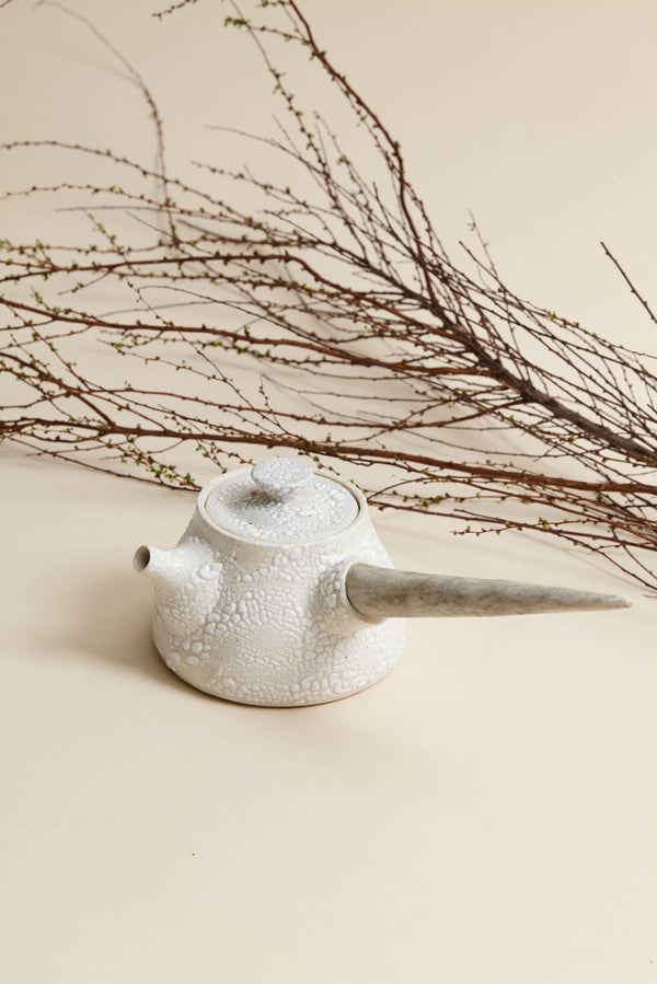 Ceramic Teapot w/Deer Antler Handle
