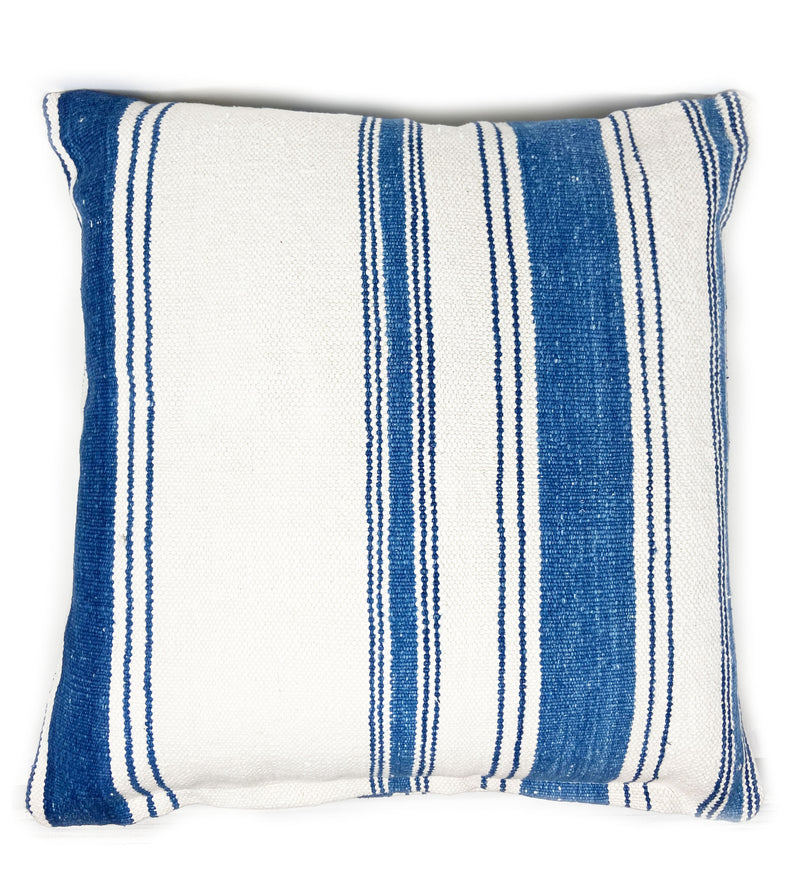 100 Year Old Dhurrie Pillow: Large and Thin Stripe
