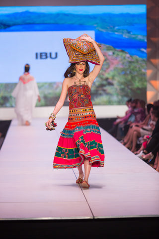 Rajasthan Skirt with Mola Bustier Top and Beaded Wrist Wraps