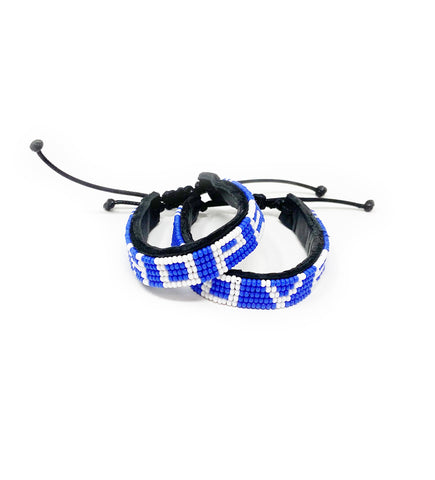Set of Woven Round Bangles: Blue and Natural