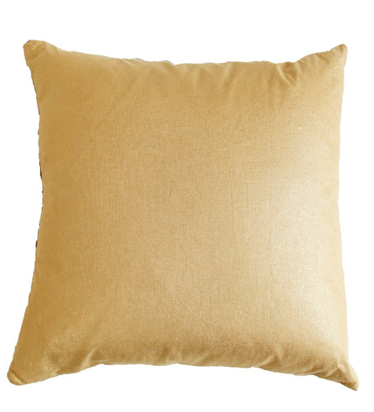 African Strip Weaving Pillow with Gold Detail