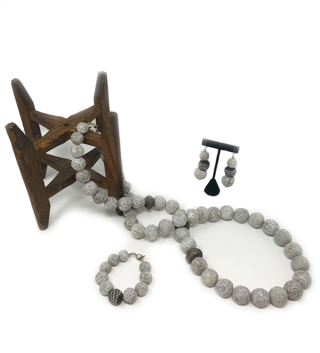 Grey Necklace, Earring, And Bracelet Gift Set