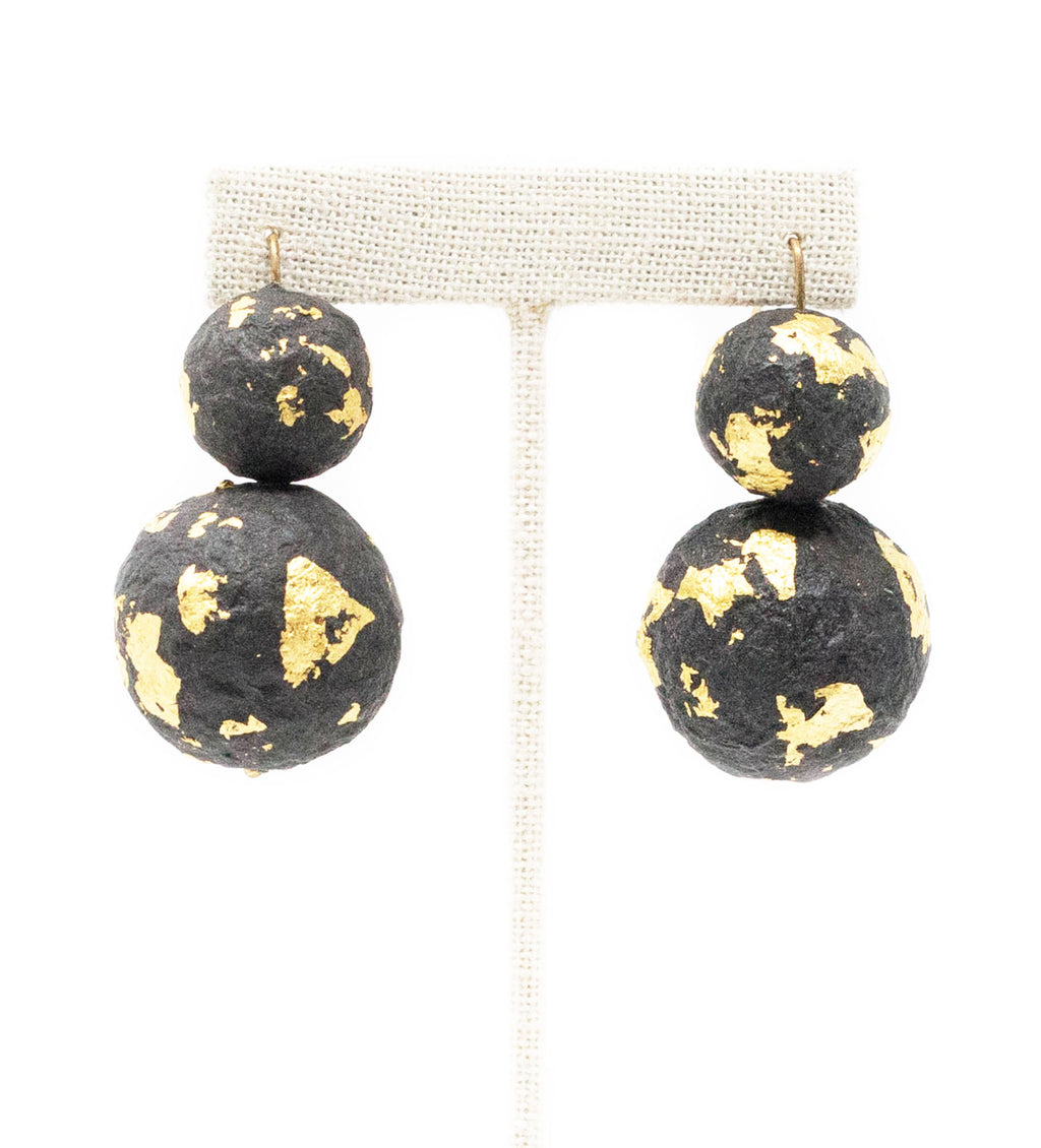 Black Beaded Earring with Gold Foil
