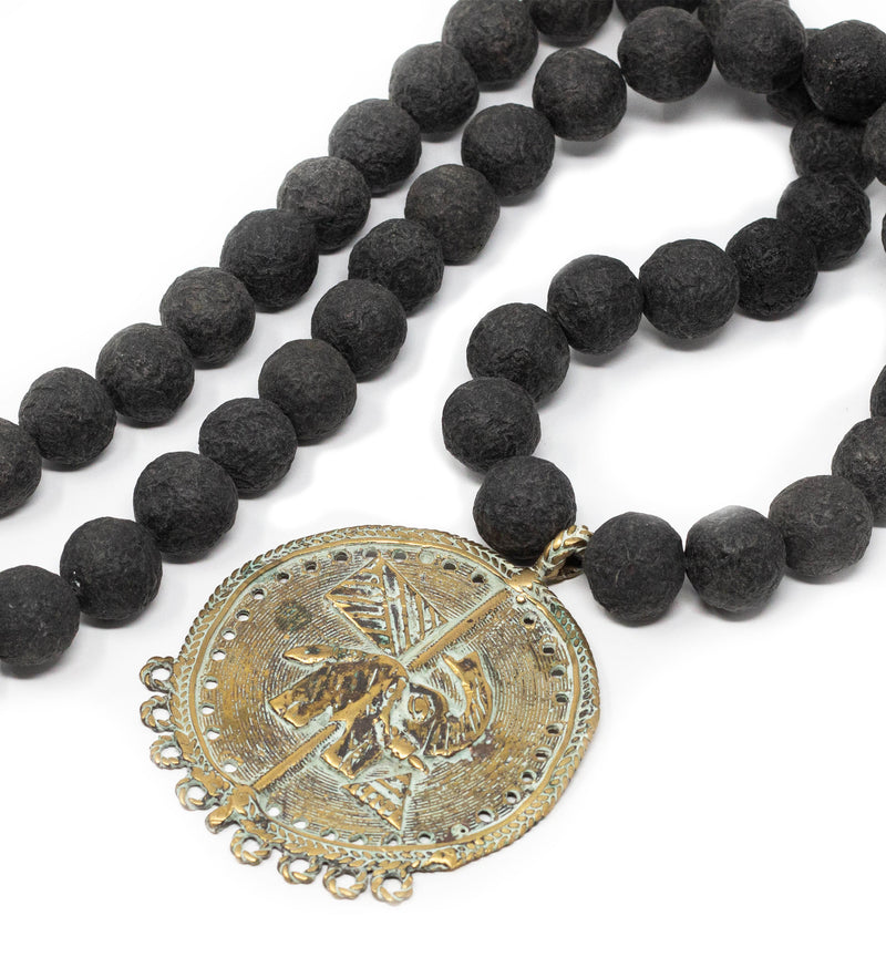 Black Long Beaded Necklace with Vintage Disc