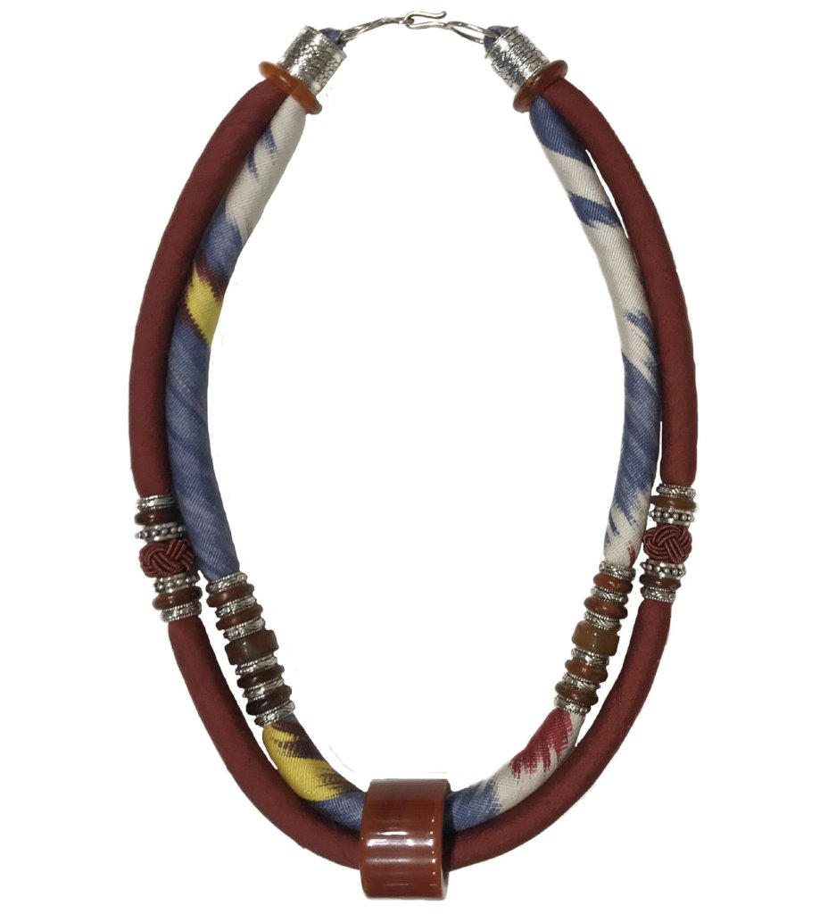 Agate Archers Thumb Ring and Ikat Cord Necklace