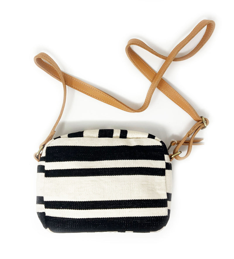 Alba Crossbody Bag: Black Stripe