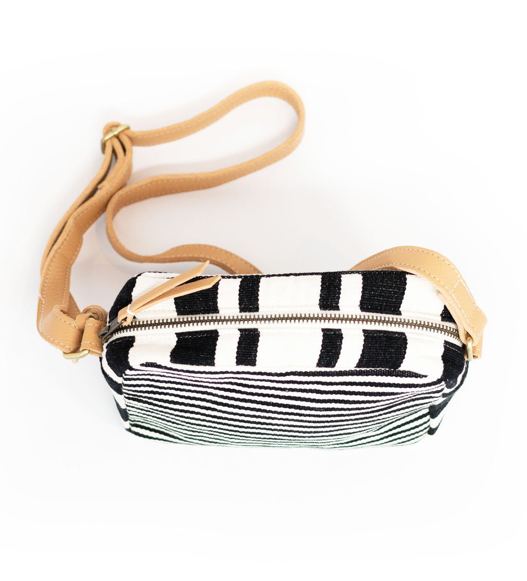 Alba Crossbody Bag: Black Multistripe