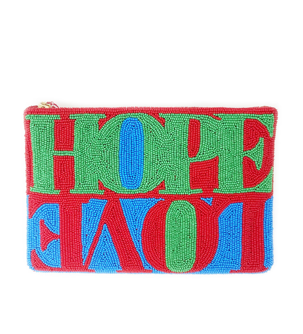 Hope + Love Beaded Clutch: Blue, Red, Green