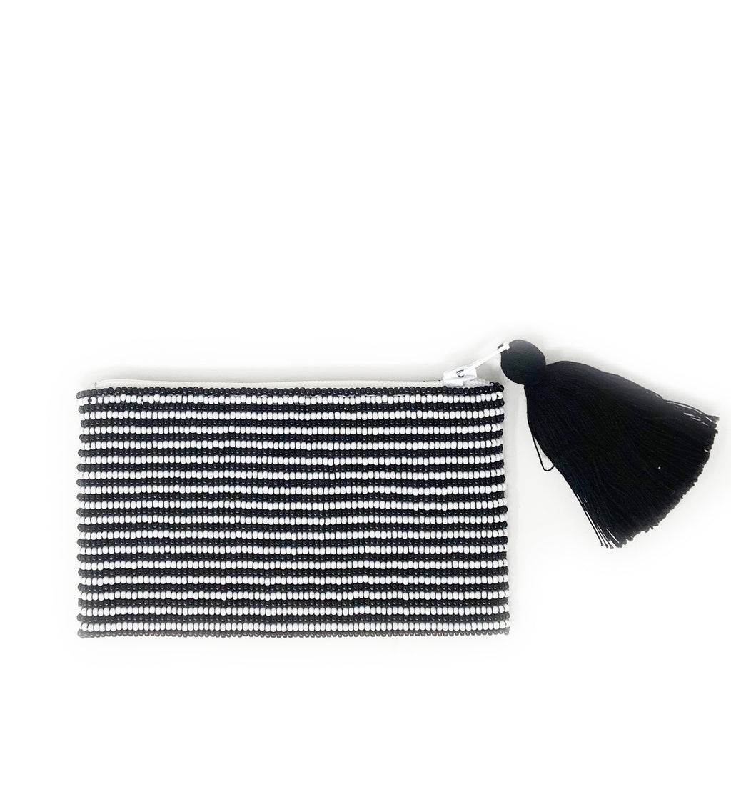 Small Hope + Love Beaded Pouch: Black and White