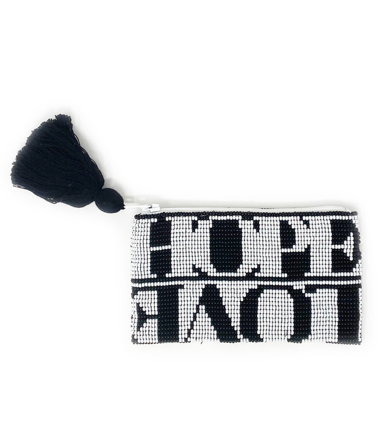 Small Hope + Love Beaded Pouch: Black and White Logo