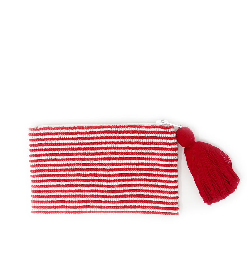 Small Hope + Love Beaded Pouch: Red and White