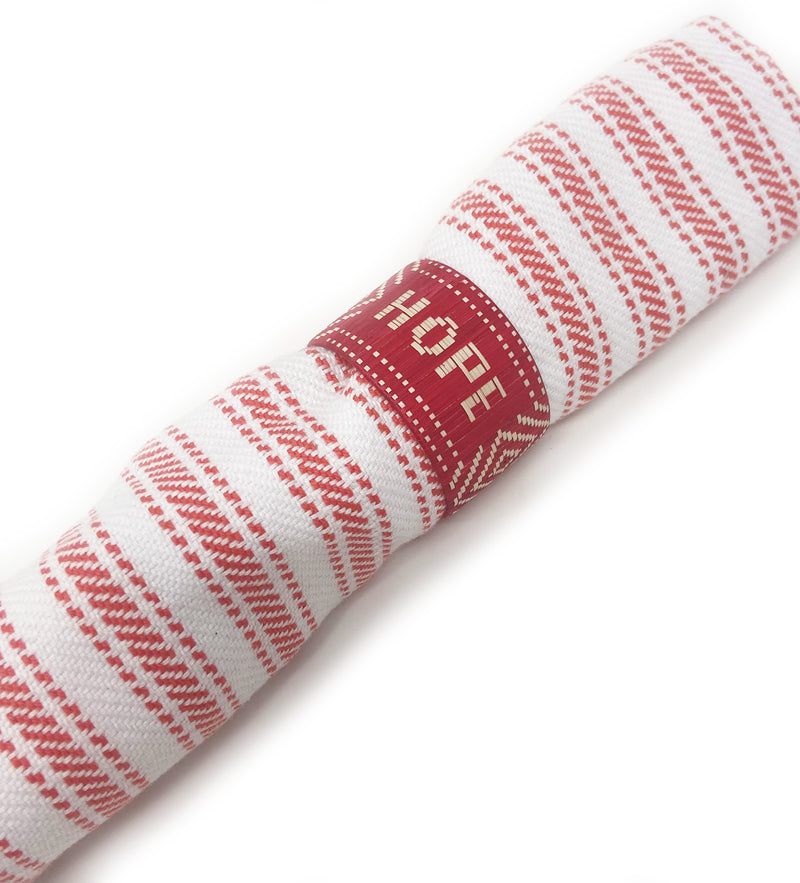 Hope + Love Woven Napkin Ring: Red Set of 2